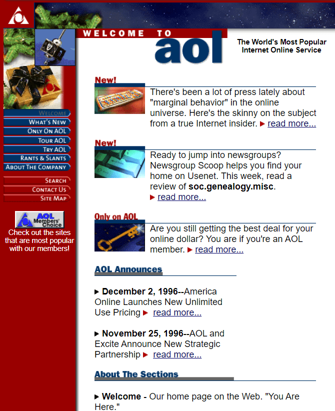 AOL from Dec 1996. Are your bookmarks outdated?