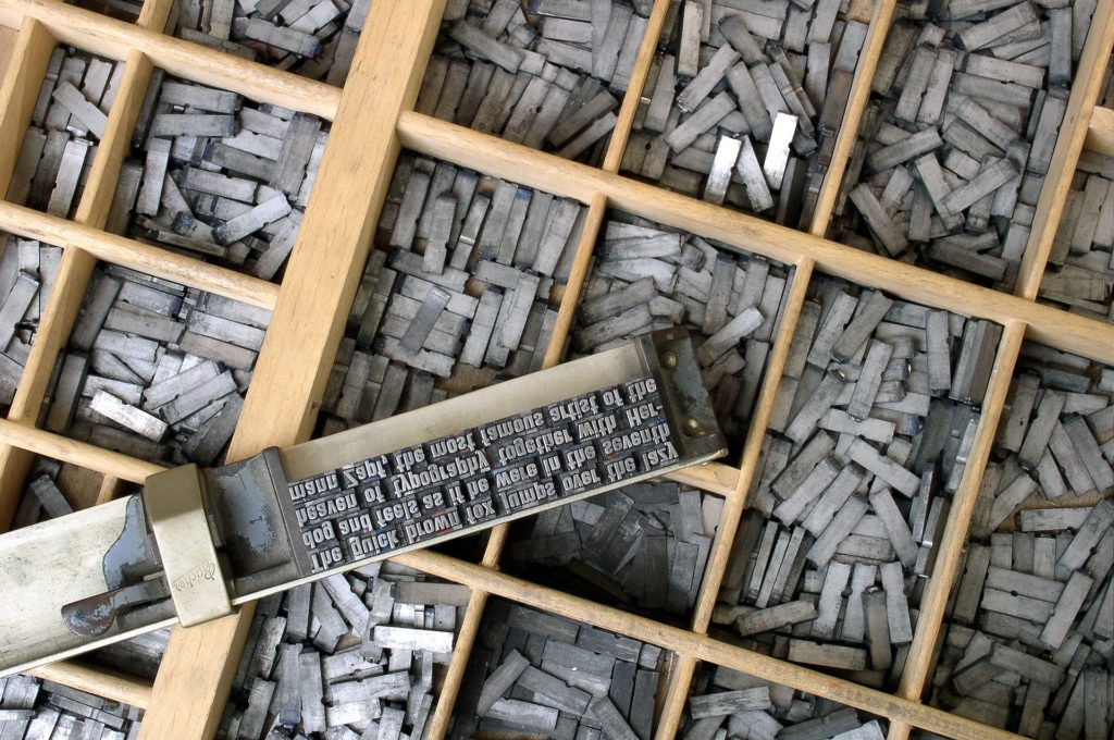 Type, for an old school printing press