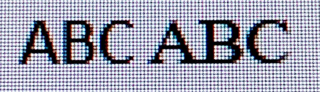 Pixel demonstration of Calibri vs Times New Roman